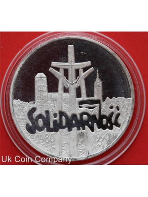 1990 poland 10th anniversary of solidarity silver proof 100000 zl coin in capsule