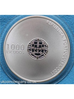 2001 portugal european football championship 2004 silver proof 1000 escudos coin boxed with certificate of authenticity