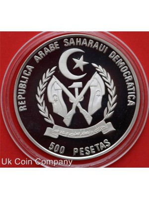 1990 saharawi arab democratic camel silver proof 500 pesetas coin in capsule