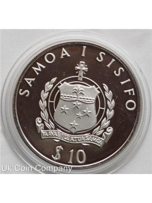 1992 samoa silver 10 tala proof coin - low mintage