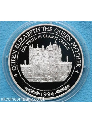 1994 samoa queen mother 1oz silver proof  ten tala crown coin encapsulated