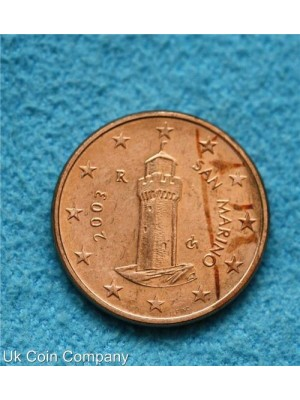 san marino 2003 uncirculated 1 cent coin