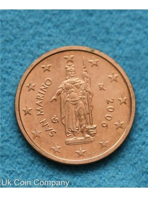 san marino 2006 uncirculated 2 cent coin
