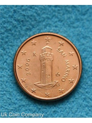 san marino 2006 uncirculated 1 cent coin
