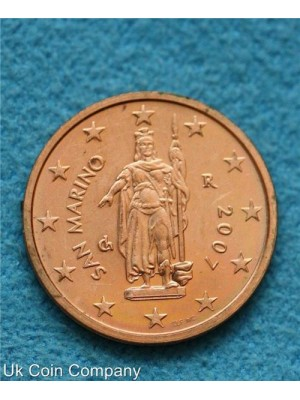 san marino 2007 uncirculated 2 cent coin