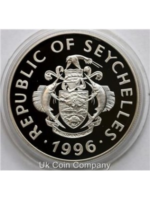 1996 seychelles 1oz silver proof 25 rupees coin with certificate coa