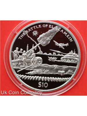 2005 sierra leone battle of el alamein silver $10 ten dollar proof crown coin
