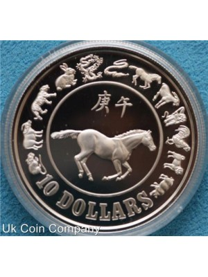 1990 singapore year of horse silver proof 1oz coin - boxed with certificate of authenticity