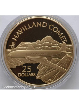 2005 solomon islands history of powered flight de havilland comet $25 1oz silver proof gold plated coin from the royal mint