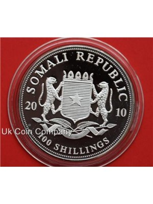 2010 somali republic 1oz silver proof like 100 shilling bullion coin