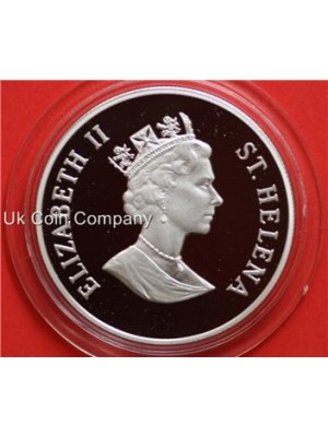 1995 Saint Helena Queen mother silver proof 50p coin in capsule