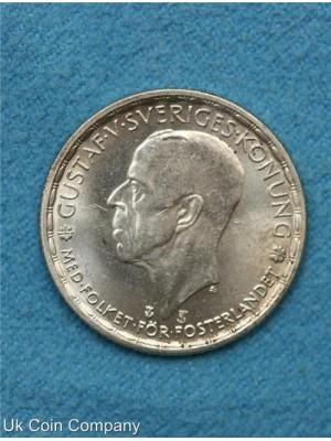 1947 sweden silver krona Bu coin