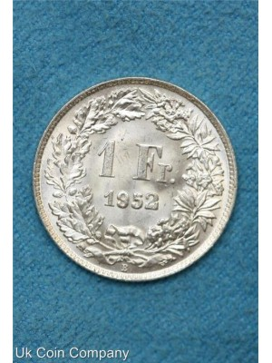 1952 switzerland 1 franc silver coin