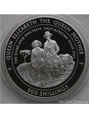 1997 tanzania east african tour 1oz silver 500 shillings proof crown coin