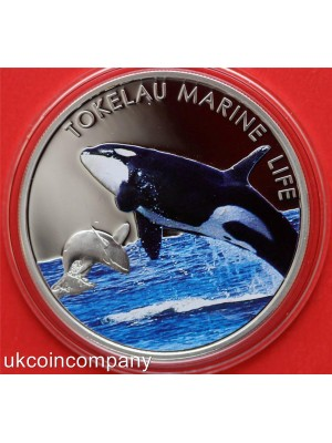2012 Tokelau Marine Life silver proof five dollar coin with certificate of authenticity.Low Mintage