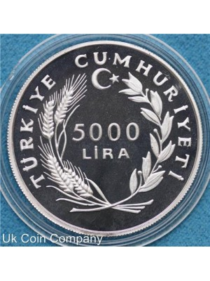 1985 turkey 500th anniversary of turkish navy silver proof 5,000 lira coin in capsule - low mintage of only 1,000