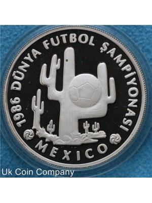 1986 Turkey World Cup Mexico Silver Proof 10,000 Lira Coin In Capsule
