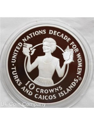 1985 Turks And Caicos Islands United Nations Decade For Women Silver 10 Crown Proof Coin - Low Mintage Of Only 1001 Coins