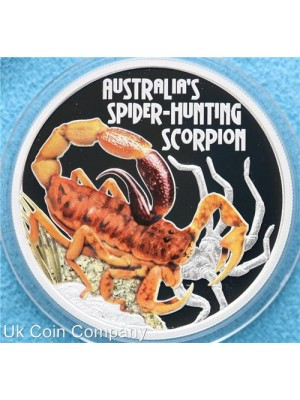 2014 tuvalu danger series scorpion 1oz silver proof coloured $1 coin boxed