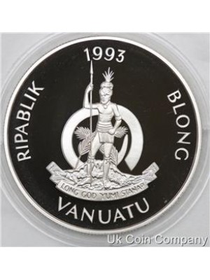 1993 vanuatu 40th coronation anniversary solid sterling silver 50 vatu proof coin with coa