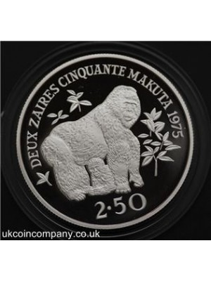 1975 Zaire Conservation Gorilla Silver Proof 2.5 Zaires Coin