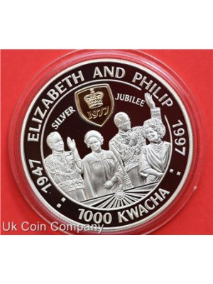 1997 zambia elizabeth ii jubilee silver 1000 kwacha proof crown coin in capsule