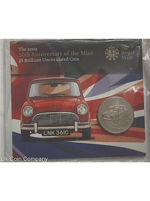 2009 Alderney royal mint 50th anniversary of the mini £5 bu coin pack