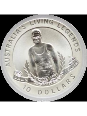 1995 australia living legends frosted matte $10 ten dollar silver coin