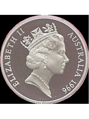 1996 australia sir donald bradman proof $5 five dollar coin