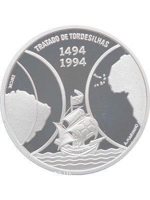 1994 Cape Verde Tordesilhas Silver Proof 1000 Escudos Coin Boxed With Certificate Of Authenticity