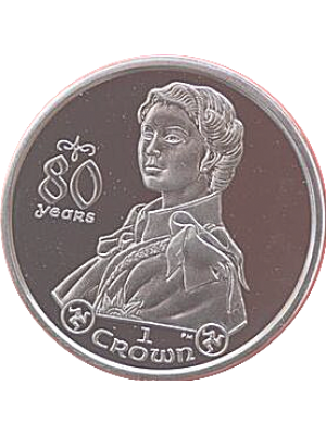 2006 isle of man 80th birthday silver proof crown coin