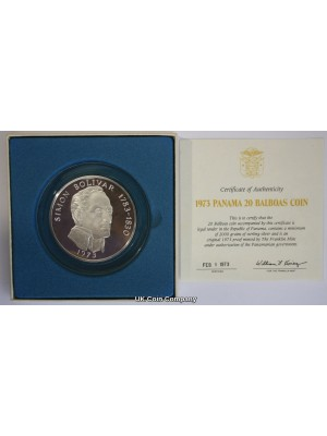 1973 Panama Simon Bolivar 4.57oz Silver Proof 20 Balboas Coin Boxed And Cert