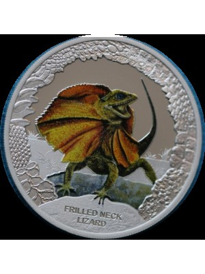 2013 Tuvalu Silver Proof $1 One Dollar coin Frilled Neck Lizard