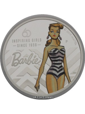 2019 Tuvalu Barbie Doll 60th Anniversary 1 oz Silver Proof $1 One Dollar Coin Issued By The Perth Mint
