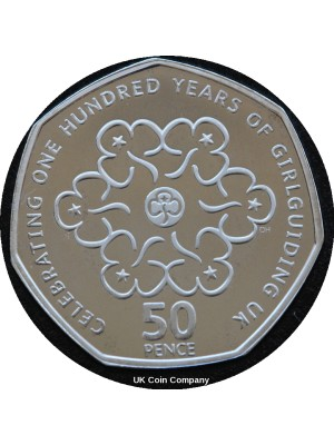 2010 Girlguiding Royal Mint Silver Proof 50p Fifty Pence Coin