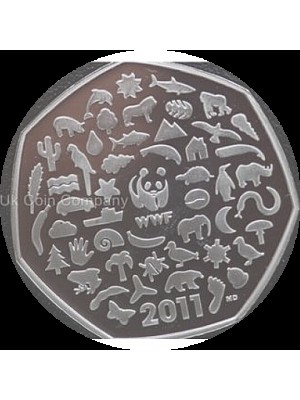 2011 uk wwf 50th anniversary royal mint silver proof 50p fifty pence coin - boxed with cert