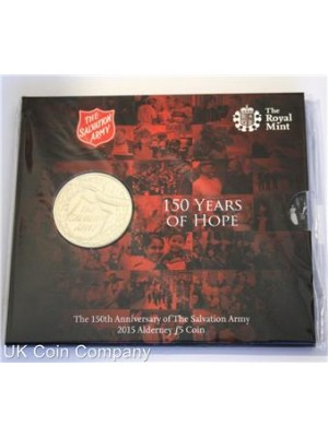 2015 Alderney Salvation Army 150th Anniversary Silver Proof Piedfort £5 Five Pound Coin Brand New