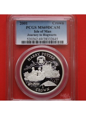 2001 isle of man harry potter journey to hogwarts silver proof 1 crown coin graded certified slabbed by pcgs as pr69
