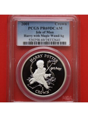 2001 Isle of man harry potter harry and magic wand silver proof 1 crown coin certified graded and slabbed by pcgs as pr69