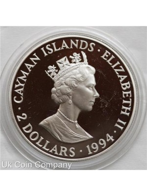 1994 cayman islands 200th anniversary silver proof $2 coin