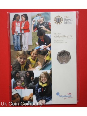 2010 uk royal mint girl guiding brilliant uncirculated 50p coin sealed in pack