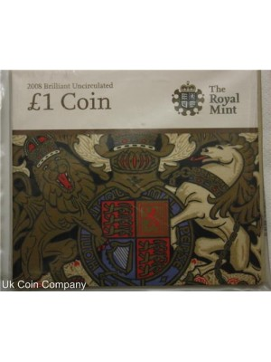 2008 brilliant uncirculated royal arms £1 coin pack