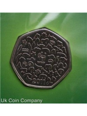 2011 uk wwf 50th anniversary royal mint bu 50p fifty pence coin sealed in pack