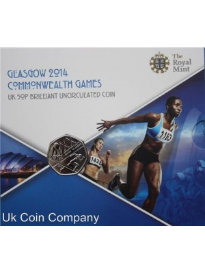2014 royal mint glasgow commonwealth games brilliant uncirculated 50p coin pack