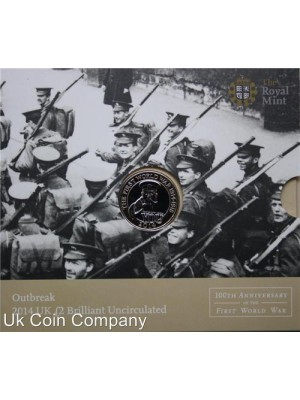 2014 uk outbreak of 1st world war brilliant uncirculated royal mint £2 coin pack